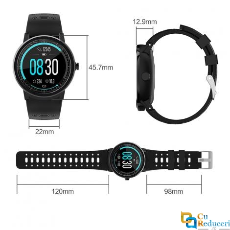 Ceas smartwatch Kingwear S10 Pro, display 1.3 inch cu touch screen, rezolutie 240 x 240 pixeli, baterie 200mAh, rezistent la apa IP67, functii de monitorizare a sanatatii