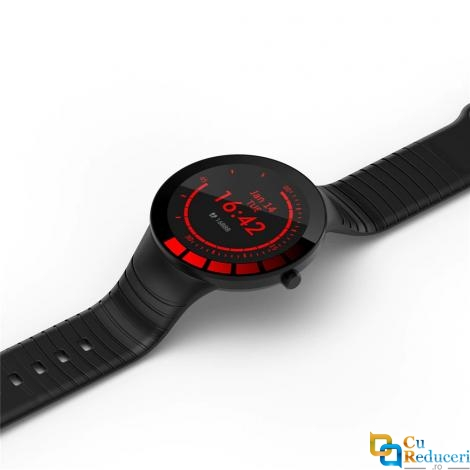 Ceas smartwatch Kingwear E3, display 1.28 inch cu touch screen, rezolutie 240 x 240 pixeli, baterie 200mAh, rezistent la apa IP68, functii de monitorizare a sanatatii