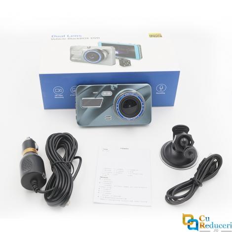 Camera de bord (dubla) DVR 1296P Full HD 4 inch, senzor G, vedere nocturna, unghi de filmare 170 °, puteti inregistra fata si spate in acelasi timp