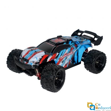 Masina cu telecomanda JJRC HS18322 albastra, 4x4, scara 1:18, viteza maxima 36 km/h, acumulator 7.4V 1200mAh, timp de utilizare ~20 min