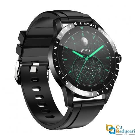 Ceas smartwatch Kingwear LA10, display 1.39 inch AMOLED cu touch screen, rezolutie 454 x 454 pixeli, capacitate baterie 500 mAh