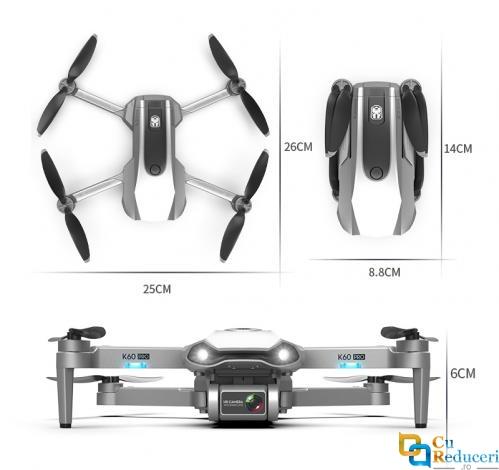 Drona K60 PRO, camera foto 6K HD, 5G GPS, Wifi Fpv RC Quadrocopter, buton de Return To Home, capacitate baterie: 7.4V 2200mAh, distanta de control: ~1200 m, autonomie zbor ~ 30 de minute
