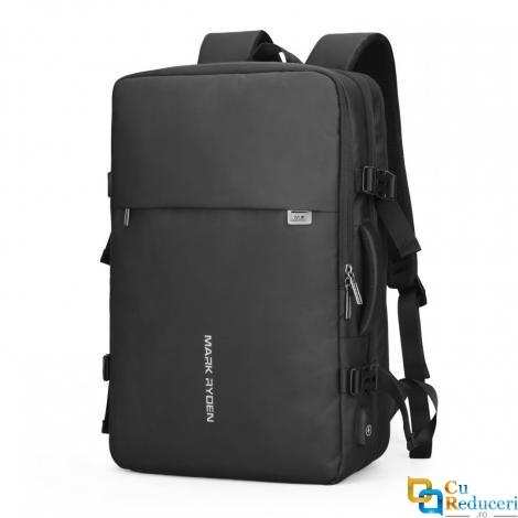 Rucsac/Ghiozdan Mark Ryden pentru laptop 17.3, 39L, calatorie, scoala sau servici, extensibil, port USB, full impermeabil, sistem antifurt, unisex, spatios, negru