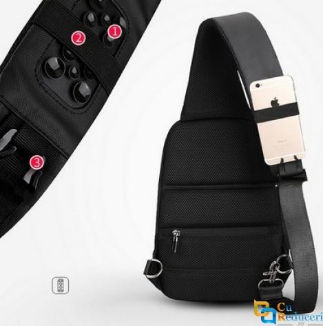 Rucsac/Ghiozdan Mark Ryden casual, cu o singura curea, port USB, full impermeabil, sistem antifurt, unisex, spatios, compatibil tableta 9.7, negru, potrivit pentru calatorie, scoala sau servici