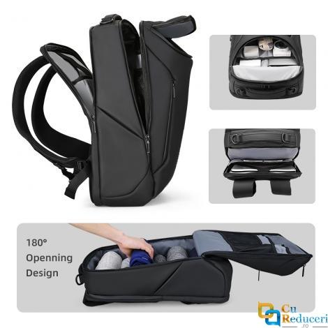 Rucsac/Ghiozdan Mark Ryden compatibil cu laptop 17.3, 30L, port USB, full impermeabil, sistem antifurt, unisex, spatios, negru, perfect pentru calatorie, servici  sau scoala