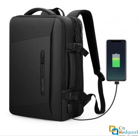 Rucsac/Ghiozdan Mark Ryden pentru laptop 17.3, extensibil, pelerina impermeabila inclusa, port USB, full impermeabil, sistem antifurt, unisex, spatios, calatorie sau servici, negru