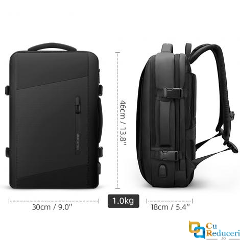 Rucsac/Ghiozdan Mark Ryden pentru laptop 17.3, 26L, port USB, full impermeabil, sistem antifurt, unisex, spatios, calatorie, scoala sau servici, negru
