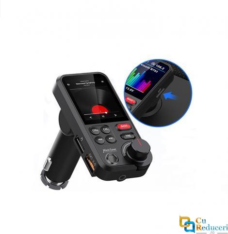 Modulator Fm, ecran mare color LCD 1.8, Bass&Treble, handsfree, Bluetooth 5.0, incarcare rapida QC 3.0 18W, suporta U flash disc FAT32 max 64G si TF max 32G, USB Mp3 Player, Aux, microfon incorporat