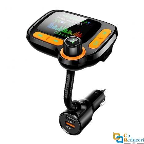 Modulator Fm, ecran mare color LCD 1.77, Bluetooth 5.0, suporta disc U max 32G + TF max 32G, incarcatare rapid QC 3.0, Mp3 Player, Aux, hands-free, microfon incorporat
