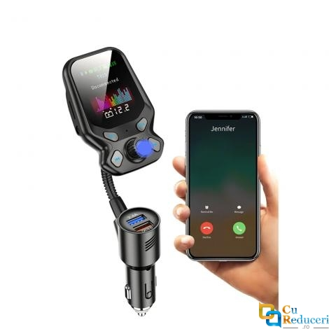 Modulator Fm, ecran mare color LCD 1.77, Bluetooth 4.2, suporta disc U si TF card max 32G, USB Mp3 Player, Aux, afiseaza tensiunea bateriei, microfon incorporat, incarcator rapid QC 3.0, hands-free