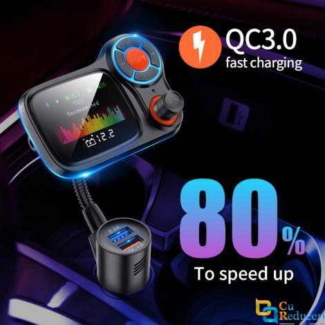 Modulator Fm, ecran mare color LCD 1.77, Bluetooth 5.0, suporta disc U si TF card, USB Mp3 Player, Aux, afiseaza tensiunea bateriei, Hands-free, incarcatare rapid QC 3.0