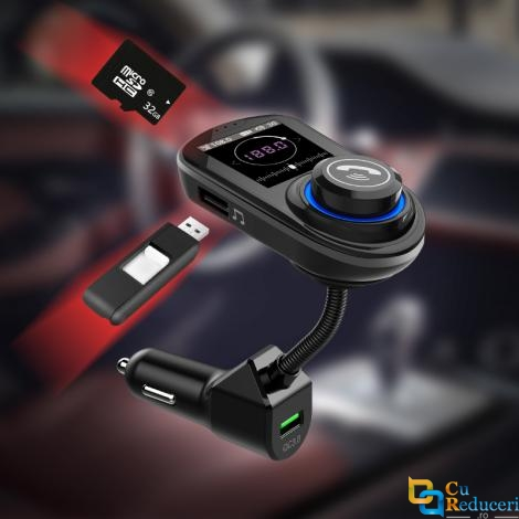 Modulator Fm, ecran mare color LCD 1.8, Wireless, Bluetooth 5.0, suporta disc U max 32G + TF max 32G, USB Mp3 Player, Aux, microfon incorporat, incarcatare rapid QC 3.0, Hands-free