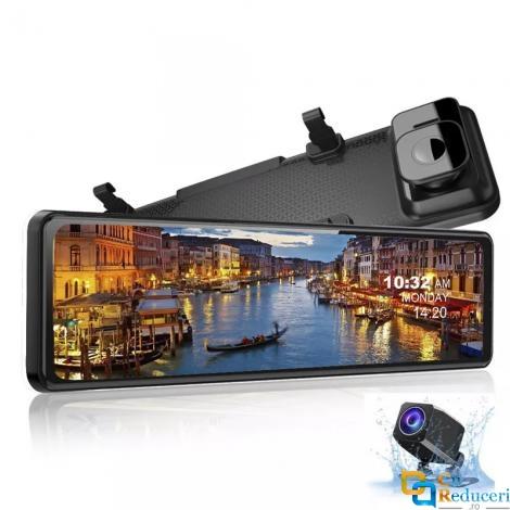 Camera auto oglinda retrovizoare, 12 inch IPS Full Touch Screen, WDR, 4K 3840 x 2160P Ultra HD Sony IMX415 camera fata, 1920 x 1048P camera fata, inregistrare dubla fata unghi 170 ° / spate unghi 150 °, 30fps
