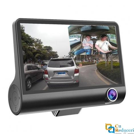 Camera de bord (dubla) DVR 1920 x 1080, 25FPS Full HD 4 inch, senzor G, vedere nocturna, unghi de filmare 170 °, 3 lentile, puteti inregistra fata, spate si interior in acelasi timp