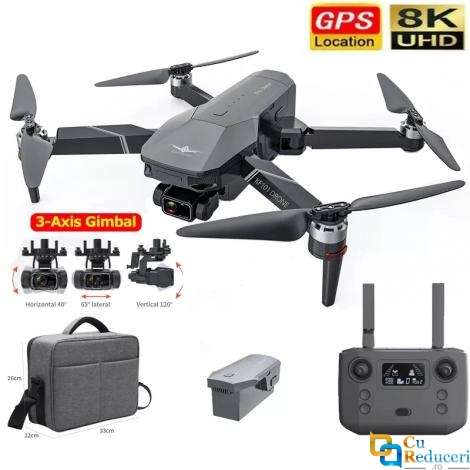 Drona CSJ KF101, WIFI 5G, camera foto 4K/8M ESC/EIS HD, stabilizator pe 3 axe, distanta de control: ~1200 m, autonomie zbor ~ 30 de minute, suport card SD, buton de Return To Home, baterie 11.1V 2500 mAh