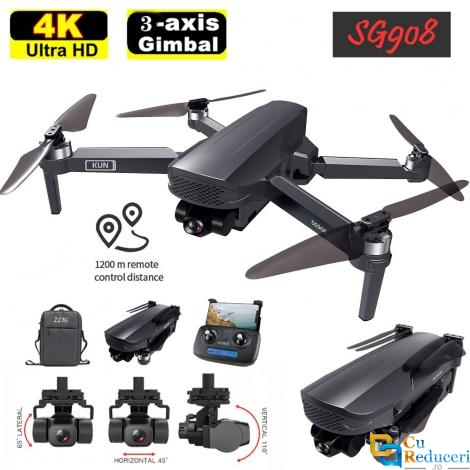 Drona SG908 PRO, dual camera sony 4K HD 5G WIFI GPS FPV, Gimbal cu 3 axe, capacitate baterie: 7.6V 3400mAh, autonomie zbor ~ 28 de minute, suporta card SD