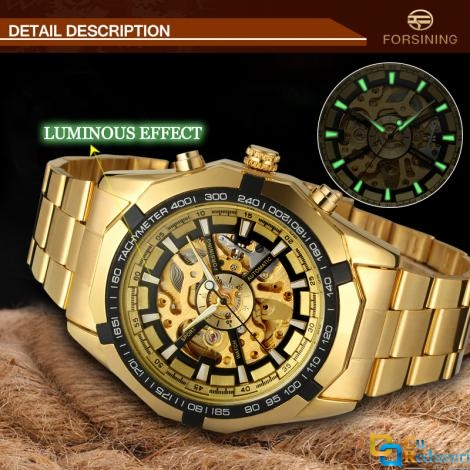 Ceas Forsining schelet barbatesc automatic Gold, bratara din otel inoxidabil, rezistent la zgarieturi, stil fashion + cutie cadou
