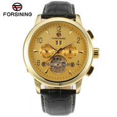 Ceas Forsining barbatesc automatic, curea din piele naturala neagra, ceas de top model 2018, stil fashion